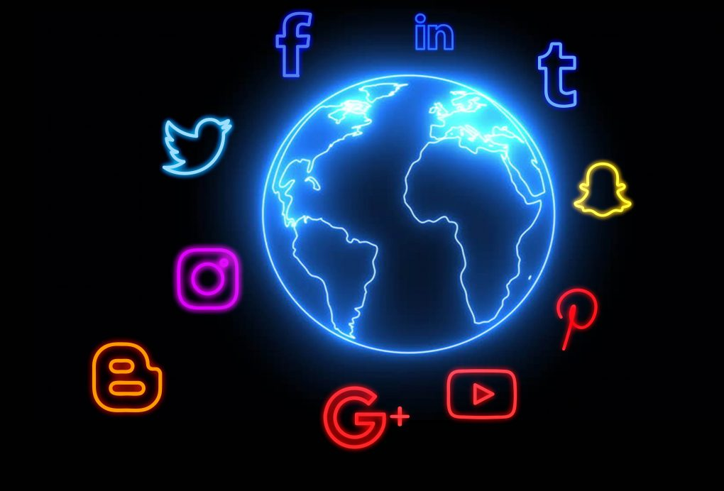 neon social icon globe png